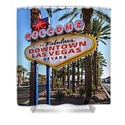 R.i.p. Welcome To Downtown Las Vegas Sign Day Shower Curtain