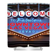 Welcome To Downtown Las Vegas Sign Slotzilla Shower Curtain