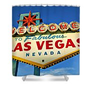 Welcome To Las Vegas Sign Shower Curtain by Garry Gay