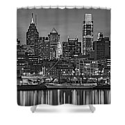 Welcome To Penn's Landing Bw Shower Curtain