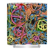 Welcome To The Machine Pink Orange Shower Curtain