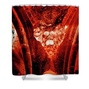 Wells Cathedral Gargoyles Color Negative A Shower Curtain
