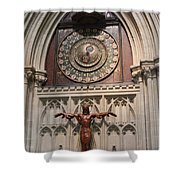 Wells Cathedral Geocentric Clock Shower Curtain