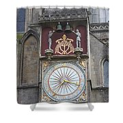 Wells Cathedral Outside Clock Shower Curtain