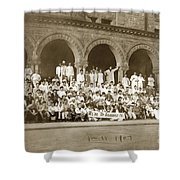 We're Up Against It,students On Steeps Of Encina Hall At Stanford University April 18,1907 Shower Curtain