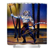 Werecat With Torch Shower Curtain