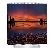 West Boat Launch Fall Sunrise Shower Curtain