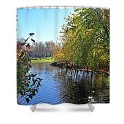 West Branch Iowa River Shower Curtain