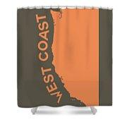 West Coast Pop Art - Crusta Orange On Judge Grey Brown Shower Curtain
