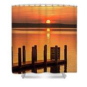 West Dnr Boat Launch July Sunrise Shower Curtain