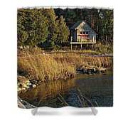 West Falmouth Boathouse Shower Curtain