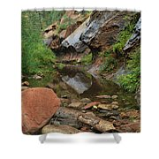West Fork Trail River And Rock Vertical Shower Curtain by Heather Kirk