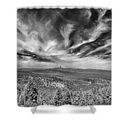 West Of Crater Lake B W Shower Curtain