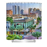 West Palm At Twilight Shower Curtain by Debra and Dave Vanderlaan