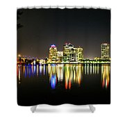 West Palm Beach Downtown Panoramic Shower Curtain