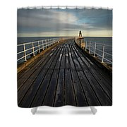 West Pier, Whitby, England Shower Curtain