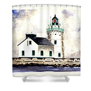 West Pierhead Lighthouse Shower Curtain