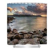 West Shore Sunset Shower Curtain