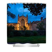 West Side Of Hexham Abbey At Night Shower Curtain