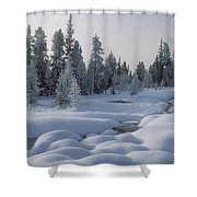 West Thumb Snow Pillows Shower Curtain