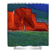 West View Of Church In Ranchos Shower Curtain