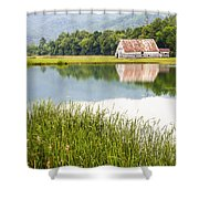 West Virginia Barn Reflected In Pond   Shower Curtain