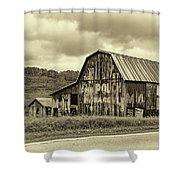 West Virginia Barn Sepia Shower Curtain