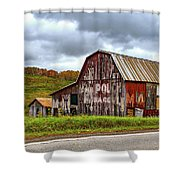 West Virginia Barn Shower Curtain