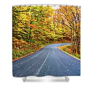 West Virginia Curves - In A Yellow Wood - Paint Shower Curtain