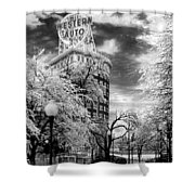 Western Auto In Winter Shower Curtain