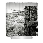 Western Barbed Wire Fence Black And White Shower Curtain