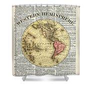 Western Hemisphere Earth Map  Shower Curtain by Anna W