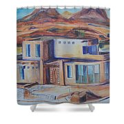 Western Home Illustration Shower Curtain