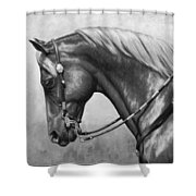 Western Horse Black And White Shower Curtain by Crista Forest