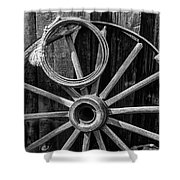 Western Rope And Wooden Wheel In Black And White Shower Curtain