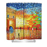 Western Wall Jerusalem Wailing Wall Acrylic Painting 2 Panels Shower Curtain
