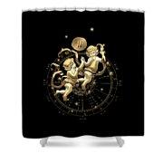 Western Zodiac - Golden Gemini - The Twins On Black Canvas Shower Curtain