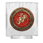 Western Zodiac - Golden Gemini - The Twins On White Leather Shower Curtain