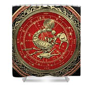 Western Zodiac - Golden Scorpio - The Scorpion On Black Velvet Shower Curtain