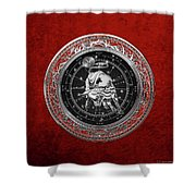 Western Zodiac - Silver Taurus - The Bull On Red Velvet Shower Curtain