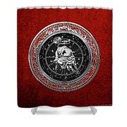 Western Zodiac - Silver Taurus - The Bull On Red Velvet Shower Curtain
