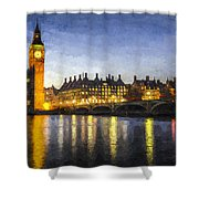 Westminster Bridge And Big Ben Art Shower Curtain