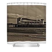 Weston  Super Mare   Outflow  Pier  Black  White Shower Curtain