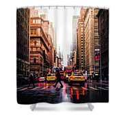 Wet Streets Of New York City Shower Curtain