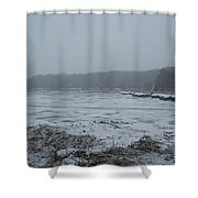 Weymouth Back River In A Snow Storm Shower Curtain