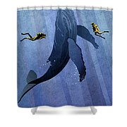 Whale Dive Shower Curtain by Sassan Filsoof