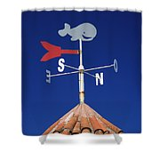 Whale Weather Vane Shower Curtain