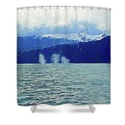 Whales Blowing Shower Curtain