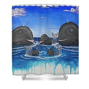 Whales Tail Waterfall Shower Curtain