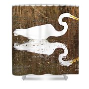 What The Egret Caught Shower Curtain